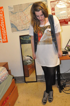 white Urban Outfitters shirt - black American Appare tights - charcoal gray Zara