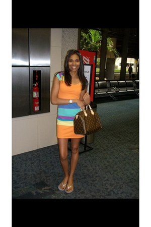 orange unknown dress - silver coach shoes - brown Louis Vuitton bag
