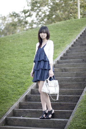 blue Dollhouse dress - black Forever 21 shoes - white The Van bag - white jacket