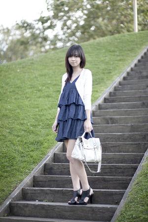 blue Dollhouse dress - black Forever 21 shoes - white The Van bag - white jacket