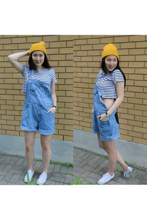 yellow beanie Ebay hat - periwinkle denim Urban Outfitters romper