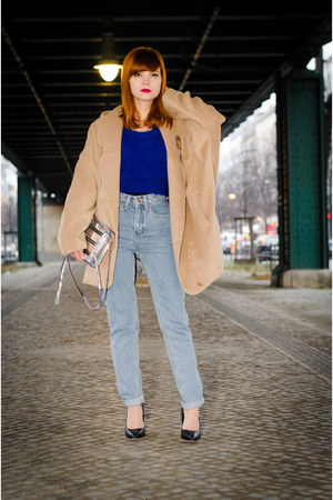 light blue high waist American Apparel jeans - camel oversized MiiA coat