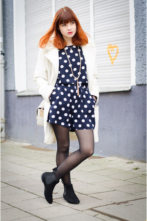 RED valentino boots - white H&M coat - polka dot asos shorts
