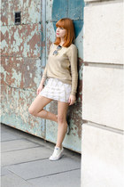 gold metallic H&M sweater - beaded Topshop skirt - ivory Converse sneakers