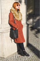 burnt orange faux fur asos coat - glitter Zara boots