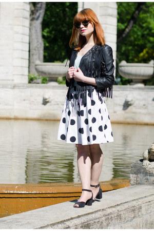 fringe thrifted jacket - polka dot H&M skirt