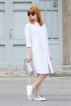 white Urban Outfitters dress - silver mirrored Zign flats