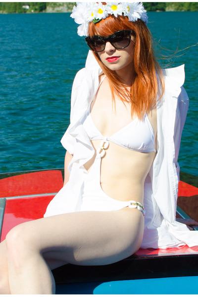 white flower crown accessories - christian dior sunglasses - white H&M swimwear