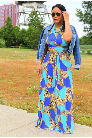 turquoise blue Von Vonni dress - blue cropped denim kensie jacket