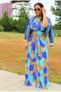 Turquoise-blue-von-vonni-dress-blue-cropped-denim-kensie-jacket