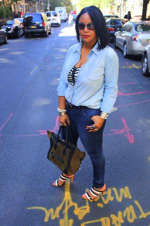black striped bra H&M top - navy Hudson jeans