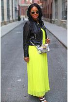 silver Zara bag - yellow Victorias Secret dress