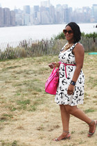 white dizzy anchors J Crew dress - hot pink Celine bag - tawny Prada sunglasses