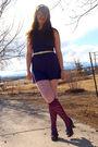 Purple-topshop-dress-pink-h-m-tights-blue-rocket-dog-shoes-yellow-nyc-flea