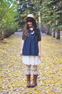 Dark-brown-boots-dna-footwear-boots-ivory-romwe-tights-navy-oasap-blouse