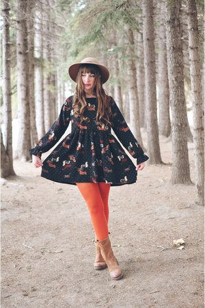 black OASAP dress - brown brown boots DNA footwear boots - camel Topshop hat