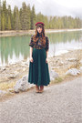 Camel-boots-thrifted-boots-forest-green-long-skirt-oasap-skirt