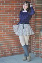puce vintage blouse - periwinkle floral skirt Top Shop skirt - camel heels zelle