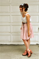 ivory lace moms closet blouse - peach pink skirt Zara skirt