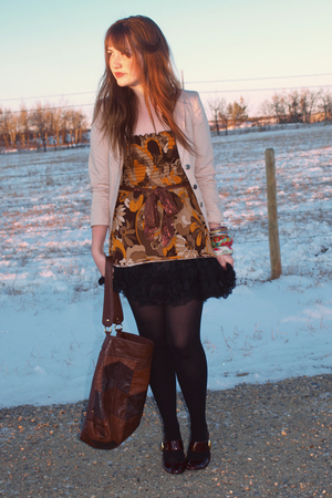 brown savers blouse - black Forever 21 skirt - purple Joe Fresh shoes - brown H&