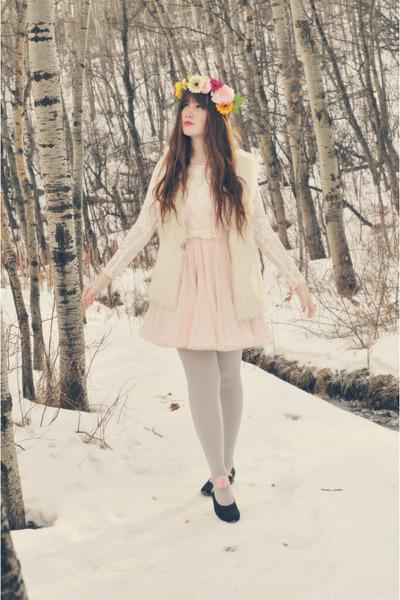 black Value Village shoes - light pink OASAP dress - bubble gum handmade hat