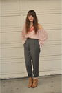 Gray-thrifted-pants-beige-the-bay-boots-pink-blouse-japanese-blouse-pink-a