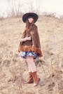 Brown-boots-boots-light-purple-dress-dress-gray-floppy-hat-bow-hat-hat
