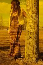 beige Zara vest - brown consignment dress - brown Value Village boots