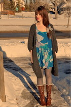 dark brown atseoulcom boots - turquoise blue blue sky Forever 21 dress - gray sl