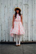 nude Value Village hat - bubble gum gingham Chicwish dress