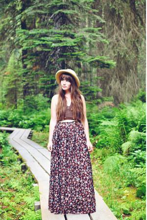 brown Pink Champagne Vintage skirt - brown halter top Value Village top
