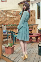 sky blue vintage dress H&M dress - white wedges Aldo wedges