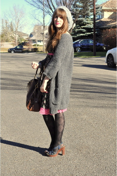 gray H&M hat - gray winners sweater - pink thrifted dress
