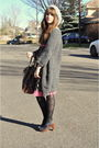 Gray-h-m-hat-gray-winners-sweater-pink-thrifted-dress