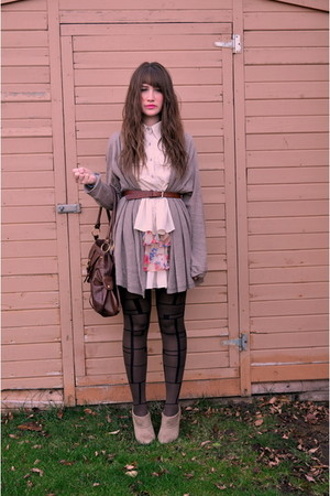 brown Forever 21 dress - brown the bay tights - beige zellers boots - beige Gap