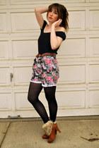 bubble gum floral shorts vintage shorts - bronze fur boots fur atseoulcom heels