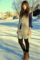 light yellow China Town cardigan - navy Joe Fresh blouse - off white winners ski