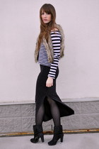 black stripes H&M top - black maxi skirt Forever 21 skirt - light brown blue not