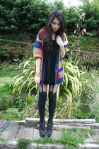red vintage cardigan - black Henry Holland stockings - black Office shoes - blac