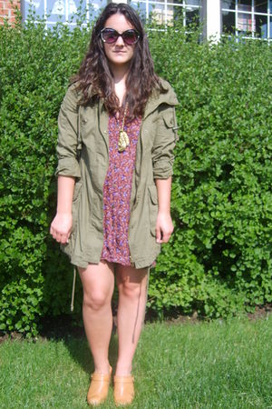 red Urban Outfitters dress - green Forever 21 coat - orange Jeffrey Campbell sho