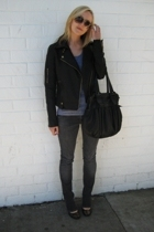silence and noise jacket - American Apparel top - Diesel jeans - tory burch shoe