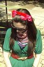 Green-target-dress-black-target-shoes-vintage-gift-from-grandma-scarf-red-