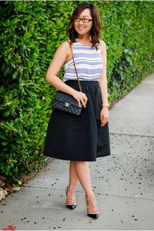 Express skirt - Chanel purse - Valentino heels - Nordstrom top