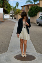 blue blazer - beige Forever 21 sweater - Forever 21 skirt - shoes - Forever 21 n