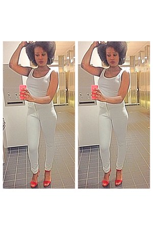 white H&M pants - white top - red Forever 21 heels