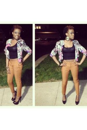 mustard Forever 21 pants - bubble gum thrift shop blazer - black Bakers heels