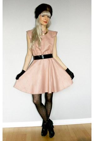 light pink whitecrowonlinecom dress - black whitecrowonlinecom stockings - black