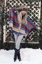 fur vintage hat - banded white crow leggings - acid wash denim white crow shirt