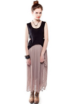 black side cutout Whitecrow online top - tan maxi pleated Whitecrow online skirt