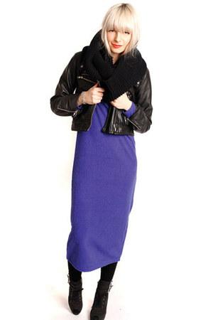blue white crow dress - black white crow scarf